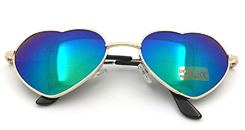 Flowertree Women's S014 Heart Aviator 55mm Sunglasses (Green - Heart Sunglasses Shaped Metal