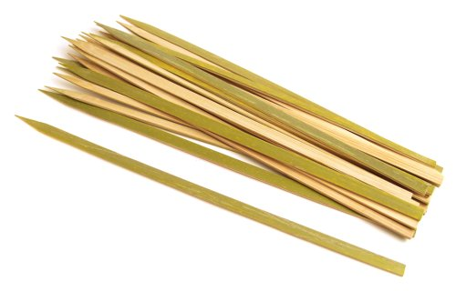 Steven Skewers Grill Raichlen - Best of Barbecue Wide Bamboo BBQ Grilling Kabob Skewers 12-inch Long, Set of 25