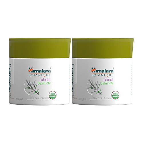 (Himalaya Chest Balm with Eucalyptus, Turmeric and Holy Basil, Chest Rub for Chest & Nasal Congestion Relief, 1.76 oz (50 gm) 2 PACK)