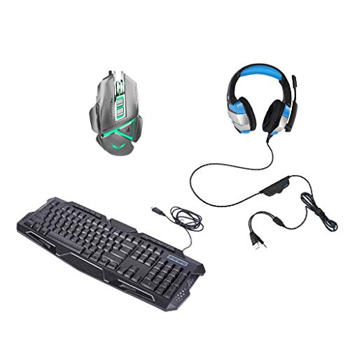 Baosity Backlit Keyboard, Mouse and PC Gaming Headsets with Mic Combo,104 Standard+10 Multimedia Keys, 7 Programmable Buttons Mice Wired USB LED Headphones from Baosity