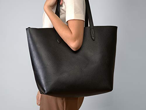 ed653c1dc5440 Leather Tote Bag for Women. Made with Genuine Leather. This Extra Large  Black Tote
