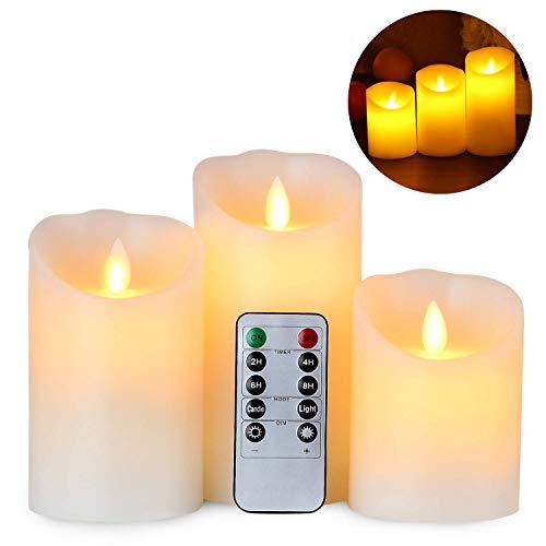 Gr4tec Set van 3 vlamloze ledkaarsen, echte waskaarsen met beweegbare vlam, timerfunctie met afstandsbediening…