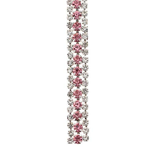 (3 Rows Crystal AB Rhinestone Cup Chain Trim Applique Craft Sew on Garment Bags (Color - Silver Pink))