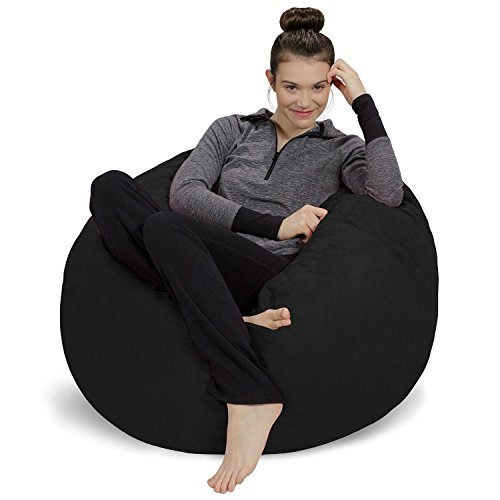 Sofa Sack - Plush, Ultra Soft Bean Bag Chair - Memory Foam Bean Bag Chair with Microsuede Cover - Stuffed Foam Filled Furniture and Accessories for Dorm Room - Black 3' (Bean Bag Filled Pillows)