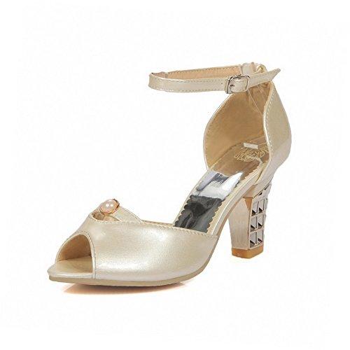 Amoonyfashion Donna Fibbia Peep Toe Tacchi Alti Materiali Materiali Sandali Solidi Beige