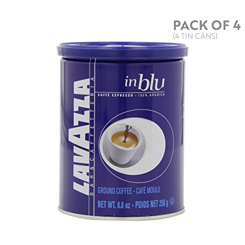 Lavazza in Blu Espresso Ground Coffee Blend, Medium Espresso Roast, 8.8-Ounce Cans (Pack of 4) - Lavazza Blue Ground