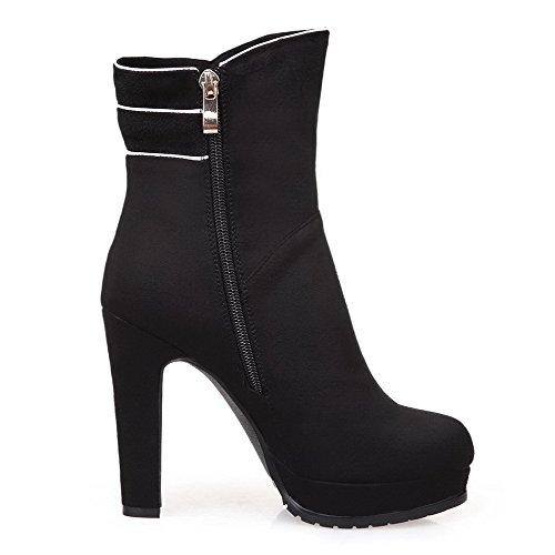 AmoonyFashion Womens Round-Toe Closed-Toe High-Heels Boots With Slipping Sole and Rough Heels Black mIqhXsANs