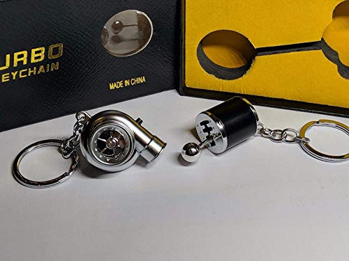 Be-Creative Electric LED Turbo Charger Keyring 2 Turbo Sounds,Spin,Light Retail Packing (Black Gear + Silver Turbo):