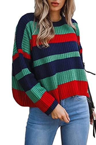 VNOOK Woman Casual Round Neck Long Sleeve Striped Print Warm Crop Sweater Jumper Green XL