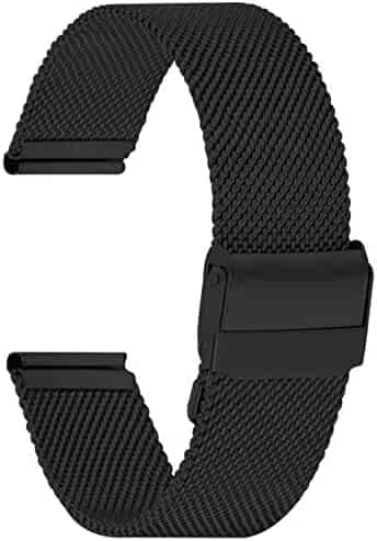 Fullmosa Watch Band Stainless Steel Watch Band Replacement Strap for 22mm Black+Black Hardware