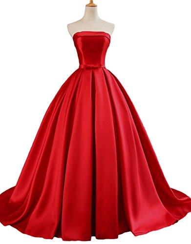 - Dymaisei Women's Strapless Ball Gown Prom Party Dresses 2019 Long Formal Dresses US2 Red