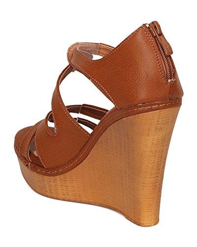 Dbdk Leatherette Platform Wig Sandaal Voor Dames - Chic, Zomer, Feestje - Ge57 Per Kameel