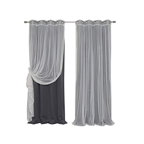 Best Home Fashion uMIXm Mix and Match Tulle Sheer Lace and Blackout 4 Piece Curtain Set – Stainless Steel Nickel Grommet Top – Dark Grey – 52