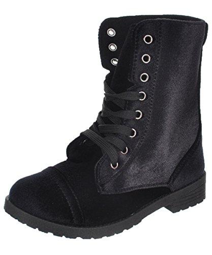 Blue Suede Shoes Girls' Velvet Combat Boots