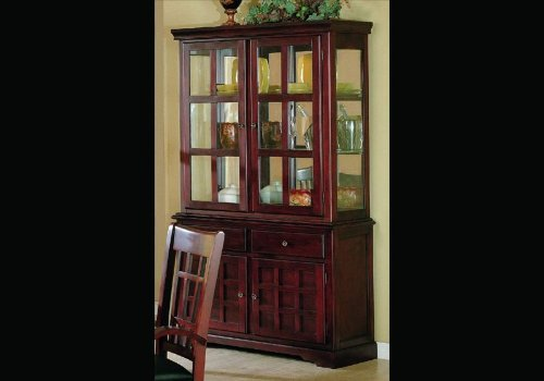 China Cabinet Cherry Finish Wooden Dining Buffet Hutch by Coaster Home Furnishings