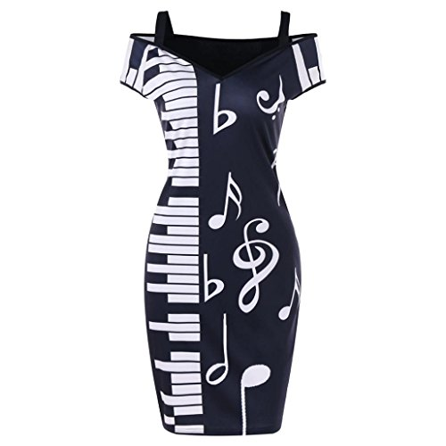 BSGSH Women's Elegant Cut Out Cold Shoulder Music Note Printed Office Work Business Bodycon Pencil Dress (M, Black)