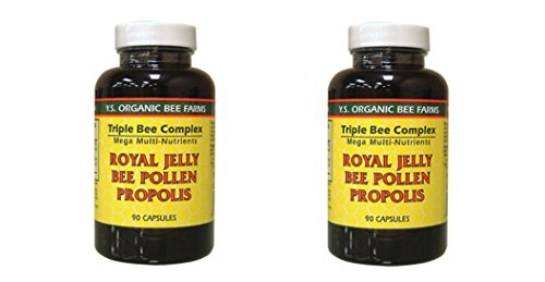 YS Organics Triple Bee Complex, Royal Jelly, Bee Pollen, Propolis -90 Caps -2 (Royal Jelly 90 Caps)