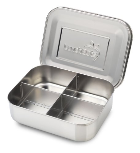 Section Four (LunchBots Medium Quad Snack Container - Divided Stainless Steel Food Container - Four Sections for Finger Foods On the Go - Eco-Friendly, Dishwasher Safe - Stainless Lid - All Stainless)