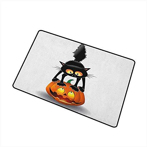 Halloween Welcome Doormat Black Cat on Pumpkin Drawing Spooky Cartoon Characters Halloween Humor Art for Outdoor and Indoor 24