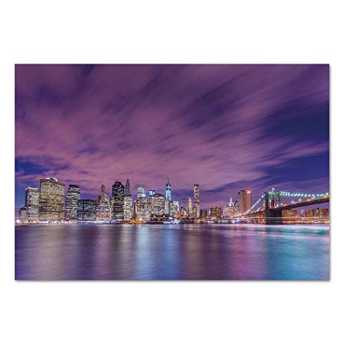 Large Wall Mural Sticker [ Modern,New York City Skyline at Night with Skyscrapers Manhattan USA American Panorama,Violet Purple ] Self-adhesive Vinyl Wallpaper / Removable Modern Decorating Wall Art