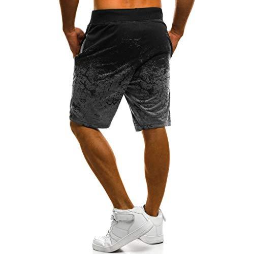 Men's Performance Athletic Shorts Casual Summer Sport Joggers Print Drawstring Basketball Short Pants Dark Gray