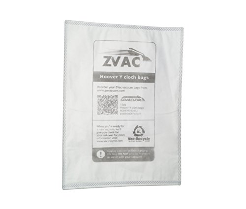 ZVac 15Pk Compatible Cloth Vacuum Bags Replacement for Hoover Windtunnel Y Vacuum Bags. Fits All Hoover Machines Using Hoover Y Bags