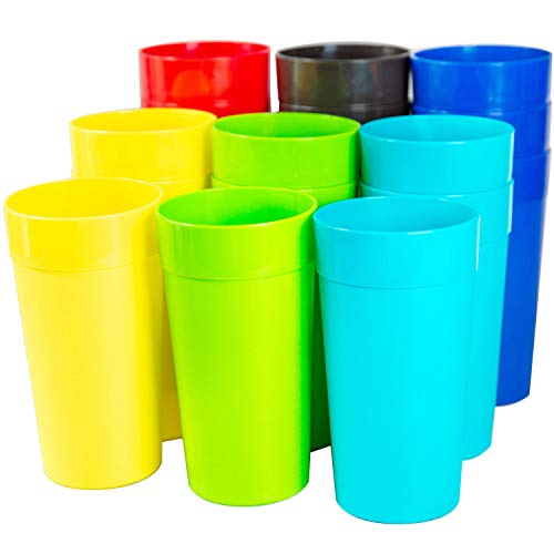 - Youngever 18 Pack 20 Ounce Plastic Tumblers, Unbreakable Drinking Glasses, Plastic Cups 6 Assorted Colors