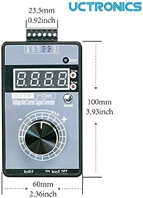 UCTRONICS 4-20mA Signal Generator Upgraded DC /±10V 0-20mA Current Voltage Analog Simulator Micro USB Powered Handheld Adjustable Tool for PLC Debugging Servo Motors Speed Regulation Light Dimmer