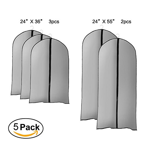 2 X Full Coat (Pack of 5,Miulee PEVA Garment Bag Garment Covers, Full Zipper Suit Bag ,3 Medium 36 Inch(90Cm) and 2 Large 55 Inch(137Cm) For Suits, Shirts, Trousers, Tops, Sport Coats?Storage or Travel)
