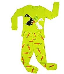 Elowel Girls Bunny Rabbit 2 Piece Pajama Set 100% Size 5
