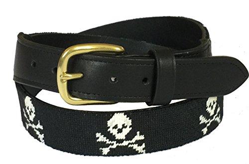 Charleston Belt Skull & Crossbones Leather Belt With Hand-stitched Design, Black, White, 38 -