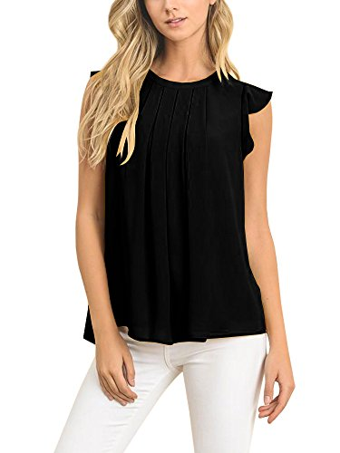 Faisean Womens Summer Casual Cap Sleeve Black Chiffon Blouse Pleated Tank Shirt - Black Chiffon Ruffle