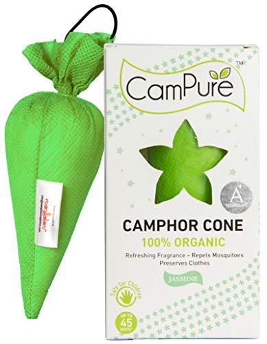 Mangalam CamPure Camphor Cone (Jasmine) – Room, Car and Air Freshener & Mosquito Repellent (Pack Of 2)