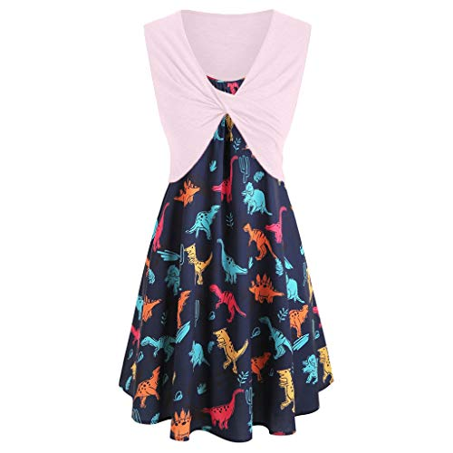 Women`s Dresses for Holiday and Cocktail Fashion  Women`s Dinosaur Print Sleeveless Two Piece Casual Summer Pink XL Summer Dress for Woman Party Wedding / Women`s Dresses for Holiday and Cocktail Fashion  Women`s Dinosaur Print Sle...