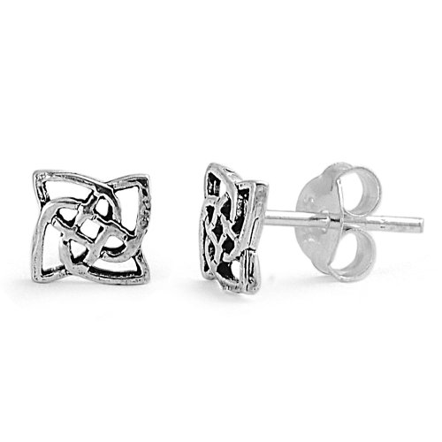 Celtic Silver Stud (Celtic Triquetra Knot Stud Earrings Sterling Silver -)