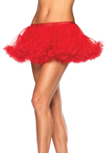 Leg Avenue Women's Puffy Chiffon Mini Petticoat Dress, Red, One (Petticoat Dress Red)
