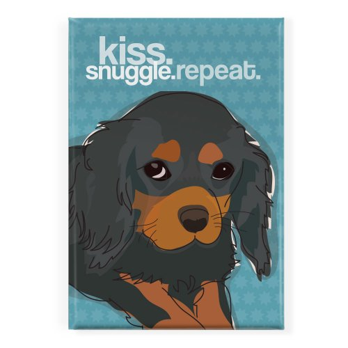 Pop Doggie Kiss Snuggle Repeat Black and Tan Cavalier King Charles Spaniel Fridge Magnet - Cavalier Magnet King Charles