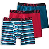 Jockey Men's Underwear ActiveStretch™ Midway Brief - 3-Pack, True Navy/Sapphire Stripe/Hot Orange, M