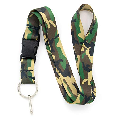 Buttonsmith Woodland Camo Premium Lanyard - with Buckle and Flat Ring - Made in The USA
