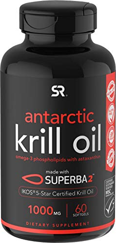 Antarctic Krill Oil (1000mg) with Omega-3s EPA & DHA + Astaxanthin | IKOS 5-Star Certified & Non-GMO Verified (60…