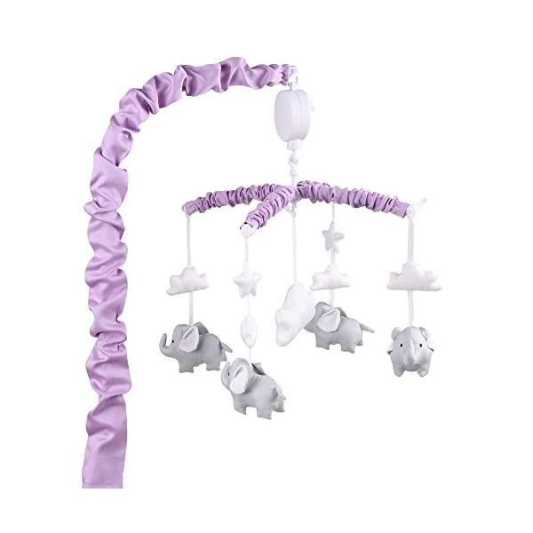 Purple Digital Musical Mobile with Elephants, Clouds & Stars by The Peanut Shell