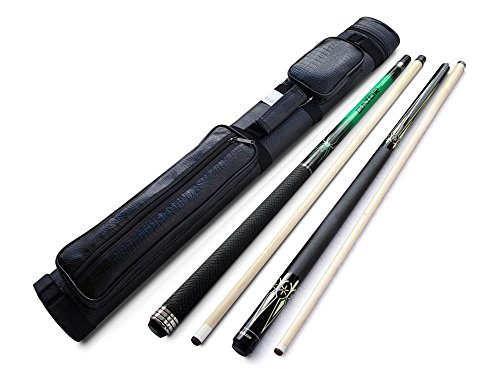 Champion Green Spider Maple Pool Cue Stick ST9 20oz, Champion ST cue, 2X2 Black Case, 2 Glove