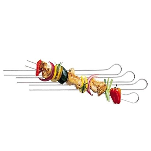8 Pack by DURSHANI Barbecue Steel Meat and Vegetable Double Prong Skewers for Kitchen 33cm