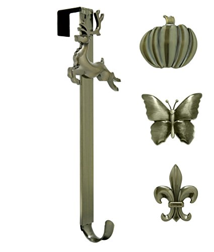 Antique Brass Fleur De Lis (Adjustable Length Wreath Hanger with Interchangeable Icons (4 WREATH HANGERS IN 1) (Antique Brass-Reindeer/Pumpkin/Butterfly/Fleur de lis))