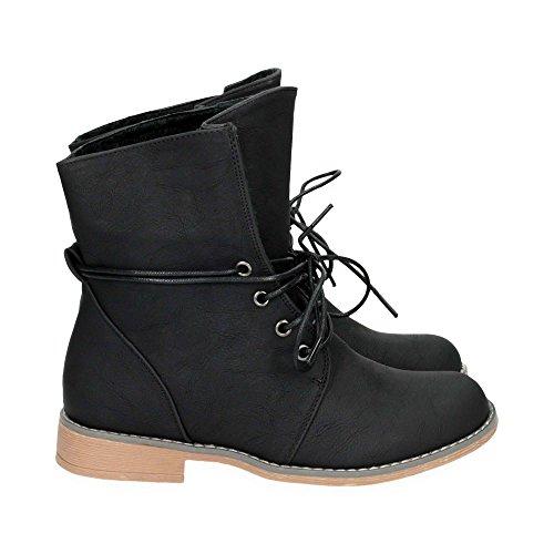 Damen Stiefel mit Blockabsatz | Biker Boots im bequemen und stylischen Design | Schnür Stiefeletten Schuhe | Gr. 36 bis 41 | Japanolo | Schwarz EU 39