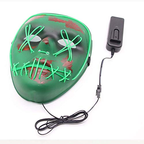 (Sky-Welle Halloween Mask Cosplay LED Glow Scary EL Wire Light Up Grin Masks for Festival Parties Costume)