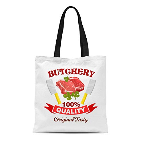 - Semtomn Canvas Tote Bag Shoulder Bags Butcher Badge Fresh Pork Mutton Beef Meat Raw Tenderloin Women's Handle Shoulder Tote Shopper Handbag