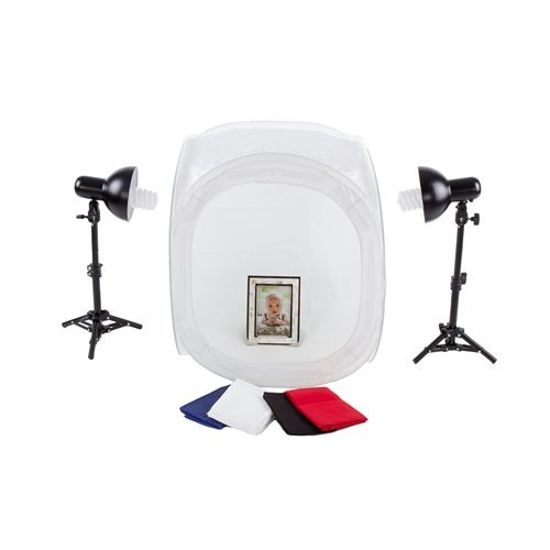 Fovitec StudioPRO 24'' Photo Studio Portable Table Top Product Photography Lighting Tent Lightbox Kit - Includes 4 x Backdrops, 2 x Light Stands, 2 x 30W Daylight Fluorescent Bulbs by Fovitec