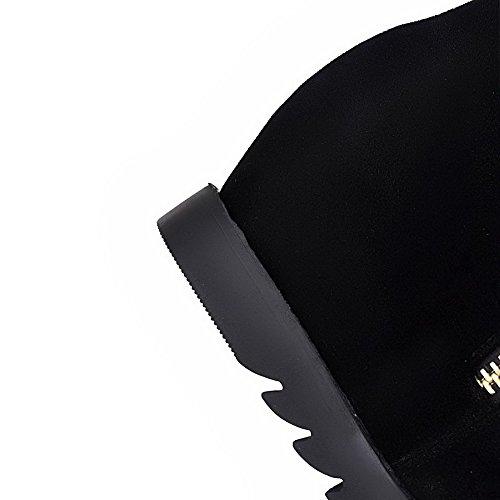 VogueZone009 Damen Mittler Absatz Nubukleder Metall Nägel Reißverschluss Stiefel, Schwarz, 36