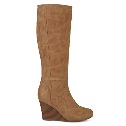 Brinley Co. Womens Regular Wide Calf Round Toe Faux Leather Mid-Calf Wedge Boots Tan, 8 Regular US